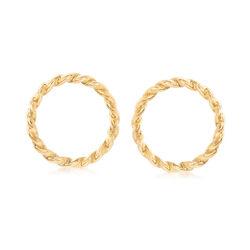 Italian 14kt Yellow Gold Twisted Open Circle Drop Earrings, , default