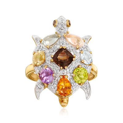 3.00 ct. t.w. Multi-Gemstone Turtle Ring in 18kt Gold Over Sterling, , default
