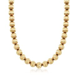 """C. 1970 Vintage 14kt Yellow Gold Fluted Bead Necklace. 16"""", , default"""