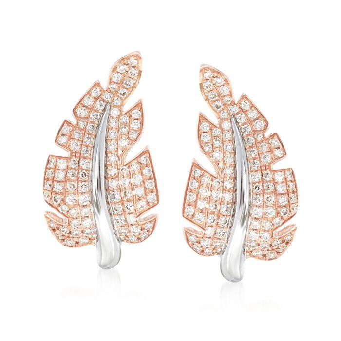"""Simon G. """"Garden"""" .66 ct. t.w. Diamond Leaf Earrings in 18kt Two-Tone Gold , , default"""
