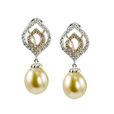 10.5-11mm Golden Cultured South Sea Pearl and .70 ct. t.w. Diamond Drop Earrings in 18kt Two-Tone Gold