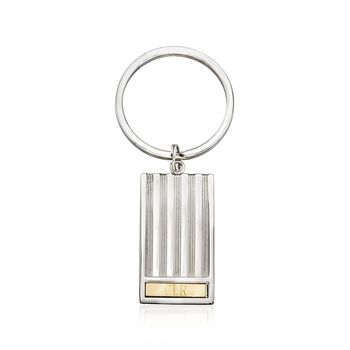 Sterling Silver and 14kt Yellow Gold Three-Initial Rectangle Keychain, , default