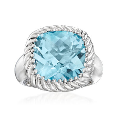 12.00 Carat Sky Blue Topaz Rope Ring in Sterling Silver, , default