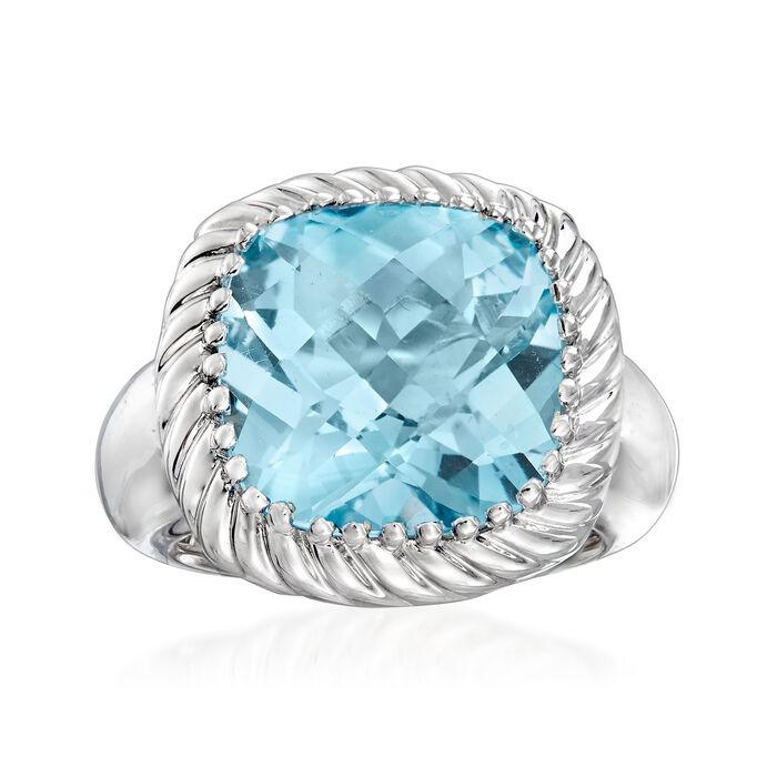 12.00 Carat Sky Blue Topaz Rope Ring in Sterling Silver