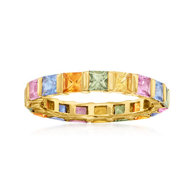 3.20 ct. t.w. Multicolored Sapphire Eternity Band in 14kt Yellow Gold