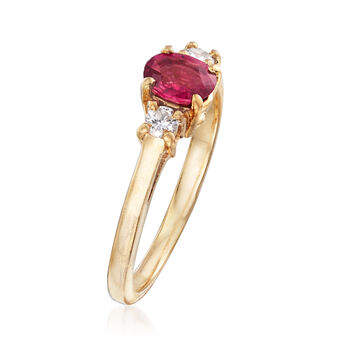 C. 1990 Vintage .50 Carat Ruby and .15 ct. t.w. Diamond Ring in 14kt Yellow Gold. Size 6, , default