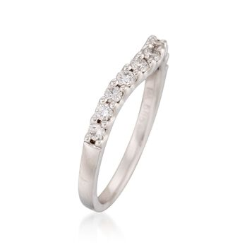 .50 ct. t.w. Curved Diamond Wedding Ring in 14kt White Gold. Size 7, , default