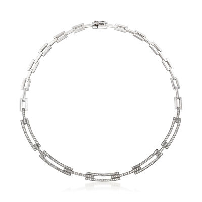 C. 1990 Vintage 3.45 ct. t.w. Diamond Link Necklace in 14kt White Gold, , default
