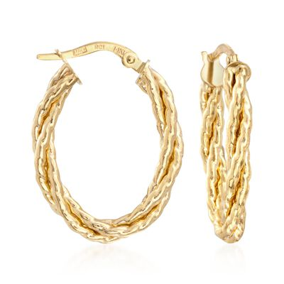 Italian 14kt Yellow Gold Twisted Oval Hoop Earrings, , default