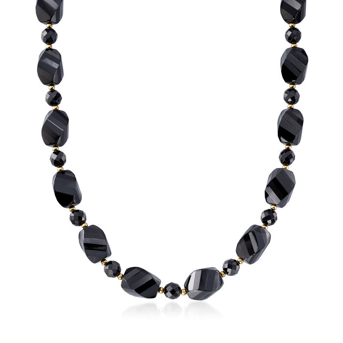 Black Agate Bead Necklace with 14kt Yellow Gold