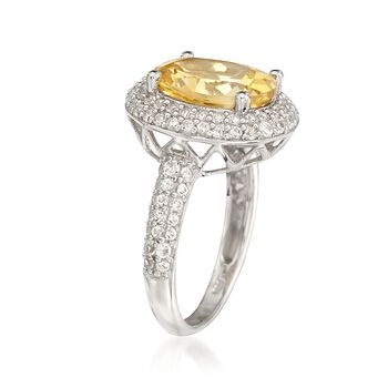 4.30 Carat Citrine Ring With 1.10 ct. t.w. White Sapphires in Sterling Silver, , default