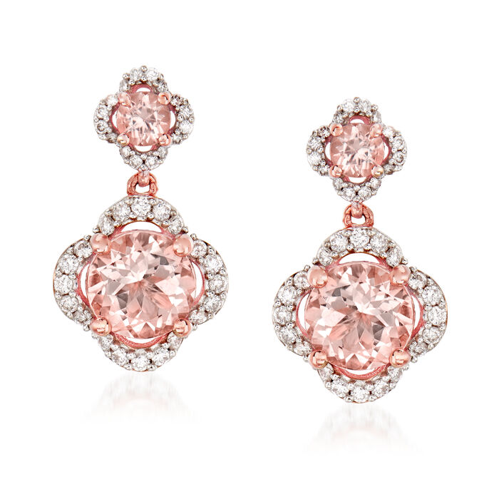 2.60 ct. t.w. Morganite and .41 ct. t.w. Diamond Drop Earrings in 14kt Rose Gold, , default