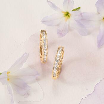 """1.00 ct. t.w. Channel-Set Diamond Hoop Earrings in 14kt Yellow Gold. 3/4"""", , default"""