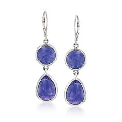 "22.00 ct. t.w. Tanzanite Drop Earrings in Sterling Silver. 2"", , default"