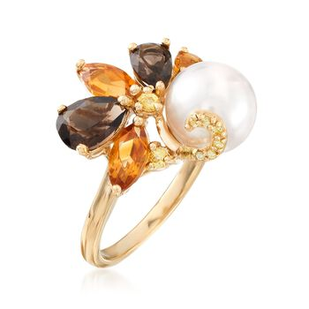 9-9.5mm Cultured Pearl and 2.00 ct. t.w. Multi-Stone Cluster Ring in 18kt Gold Over Sterling