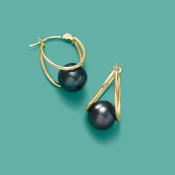 Black Onyx Double-Hoop Earrings in 14kt Yellow Gold