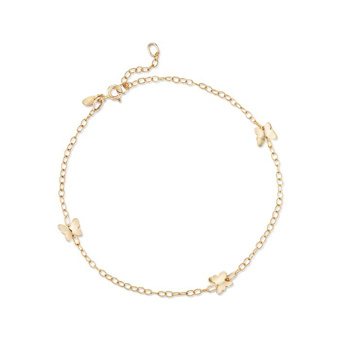 "Italian 14kt Yellow Gold Butterfly Station Anklet. 9"", , default"