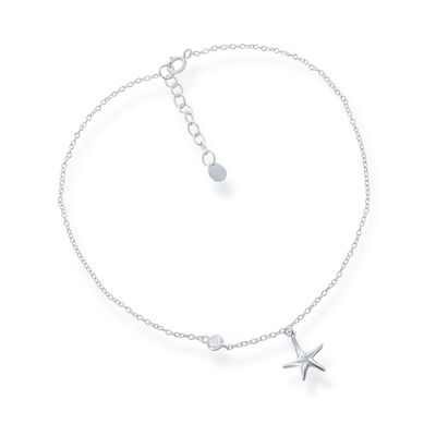 Sterling Silver Starfish Charm Anklet with CZ Accent, , default
