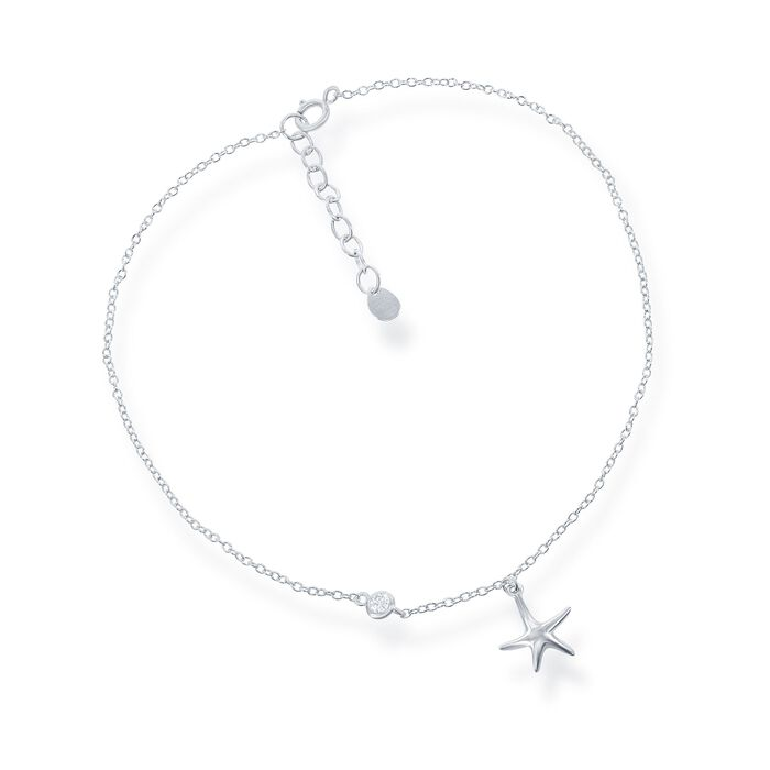 """Sterling Silver Starfish Charm Anklet with CZ Accent. 9"""", , default"""
