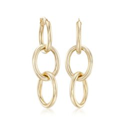 Robert Coin 18kt Yellow Gold Three Circle Link Hoop Earrings, , default