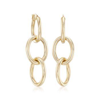 Robert Coin 18kt Yellow Gold Three Circle Link Hoop Earrings, , default
