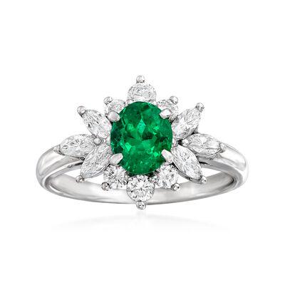 C. 1980 Vintage .79 Carat Emerald and .58 ct. t.w. Diamond Ring in Platinum, , default