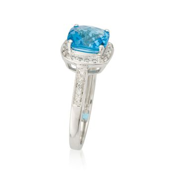 2.25 Carat Blue Topaz and .15 ct. t.w. Diamond Ring in 14kt White Gold, , default