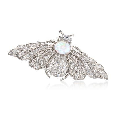 Opal and 2.03 ct. t.w. CZ Bee Pin in Sterling Silver, , default