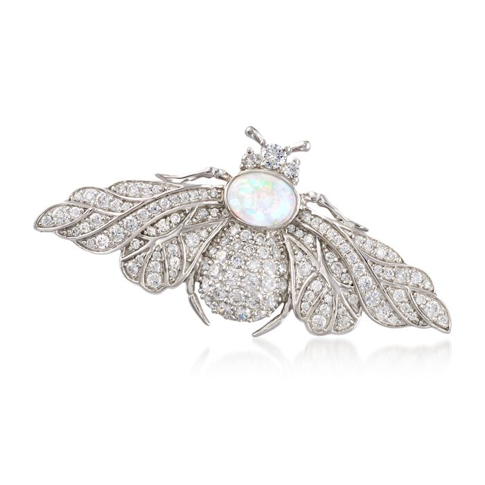 Opal and 2.03 ct. t.w. CZ Bee Pin in Sterling Silver