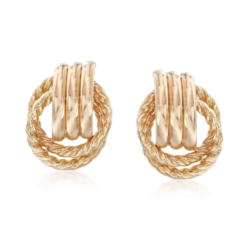 14kt Yellow Gold Roped And Polished Doorknocker Earrings Default