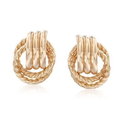 14kt Yellow Gold Roped and Polished Doorknocker Earrings, , default