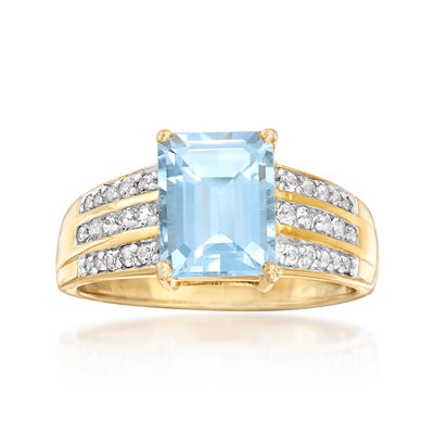 2.66 ct. t.w. White and Blue Swarovski Topaz Ring in 18kt Yellow Gold Over Sterling, , default