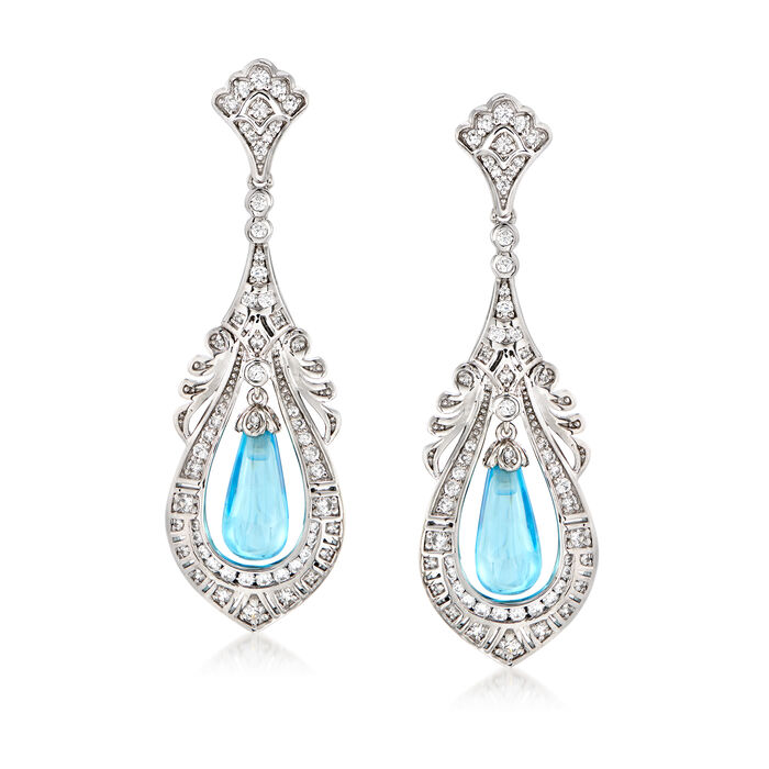 7.00 ct. t.w. Simulated Aquamarine and 1.20 ct. t.w. CZ Drop Earrings in Sterling Silver