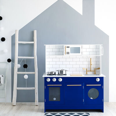 "Child's ""Little Chef Berlin"" Modern Play Kitchen in White and Blue"