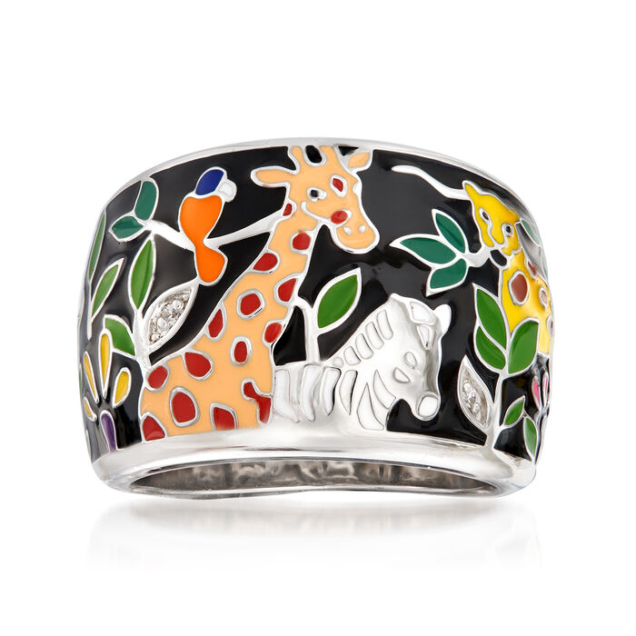 "Belle Etoile ""Serengeti"" Black and Multicolored Enamel Ring with CZ Accents in Sterling Silver"