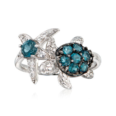 .90 ct. t.w. London Blue and White Topaz Sea Life Ring in Sterling Silver