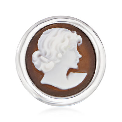 Italian Shell Cameo Ring in Sterling Silver, , default