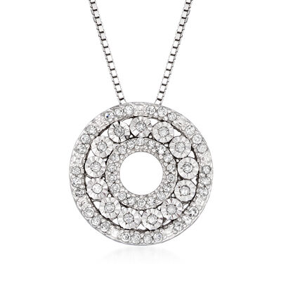 .21 ct. t.w. Diamond Open Circle Pendant Necklace in Sterling Silver