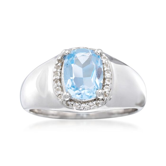 1.50 ct. t.w. Blue and White Topaz Halo Ring in Sterling Silver, , default