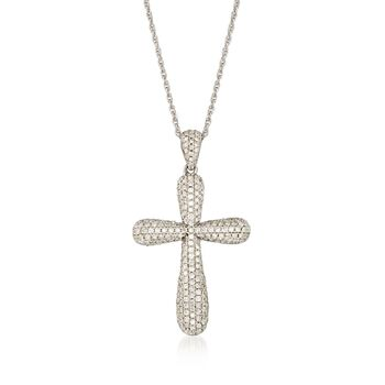 """.98 ct. t.w. Pave Diamond Rounded Cross Pendant Necklace in 14kt White Gold. 18"""", , default"""