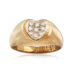 C. 1970 Vintage .15 ct. t.w. Diamond Heart Ring in 14kt Yellow Gold. Size 8, , default