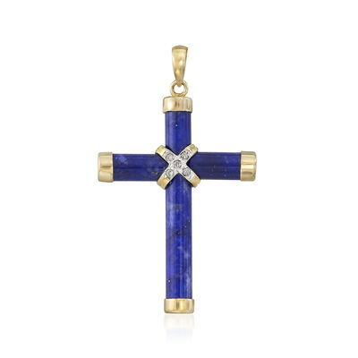 Lapis Cross Pendant With Diamond Accents in 14kt Yellow Gold, , default