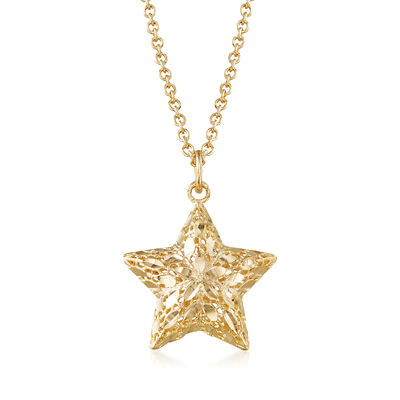 Italian 14kt Yellow Gold Diamond-Cut Openwork Star Necklace, , default