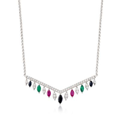 1.10 ct. t.w. Multi-Stone and .50 ct. t.w. Diamond Necklace in 14kt White Gold, , default