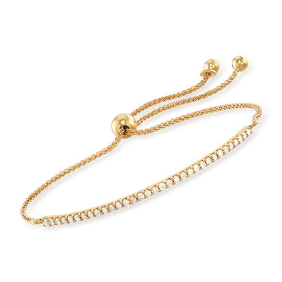 .50 ct. t.w. Diamond Curved Bar Bolo Bracelet in 18kt Gold Over Sterling