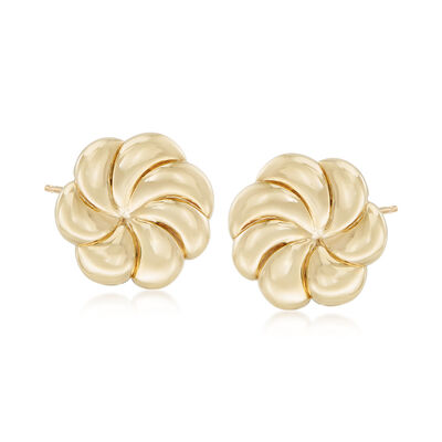 14kt Yellow Gold Wavy Flower Earrings, , default