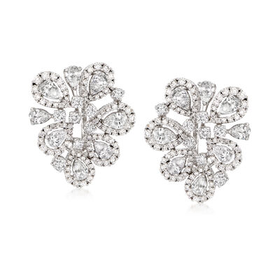 6.70 ct. t.w. Diamond Free-Form Floral Earrings in 18kt White Gold