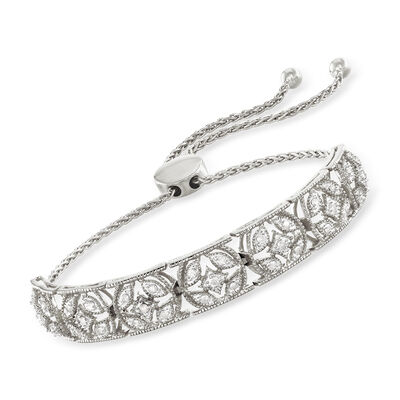 .50 ct. t.w. Diamond Openwork Bolo Bracelet in Sterling Silver