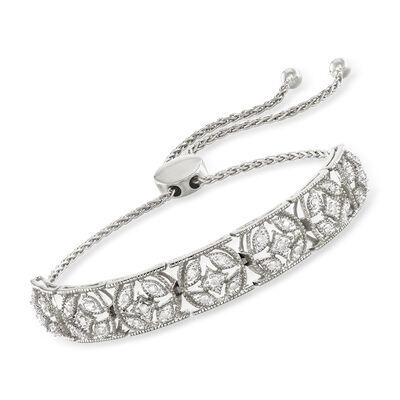 .50 ct. t.w. Diamond Openwork Bolo Bracelet in Sterling Silver