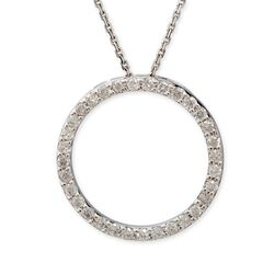 .50 ct. t.w. Diamond Open Circle Pendant Necklace in 14k White Gold, , default